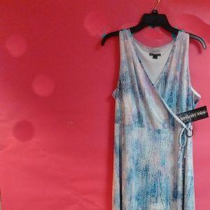 Nina Leonard Wrap Maxi Dress